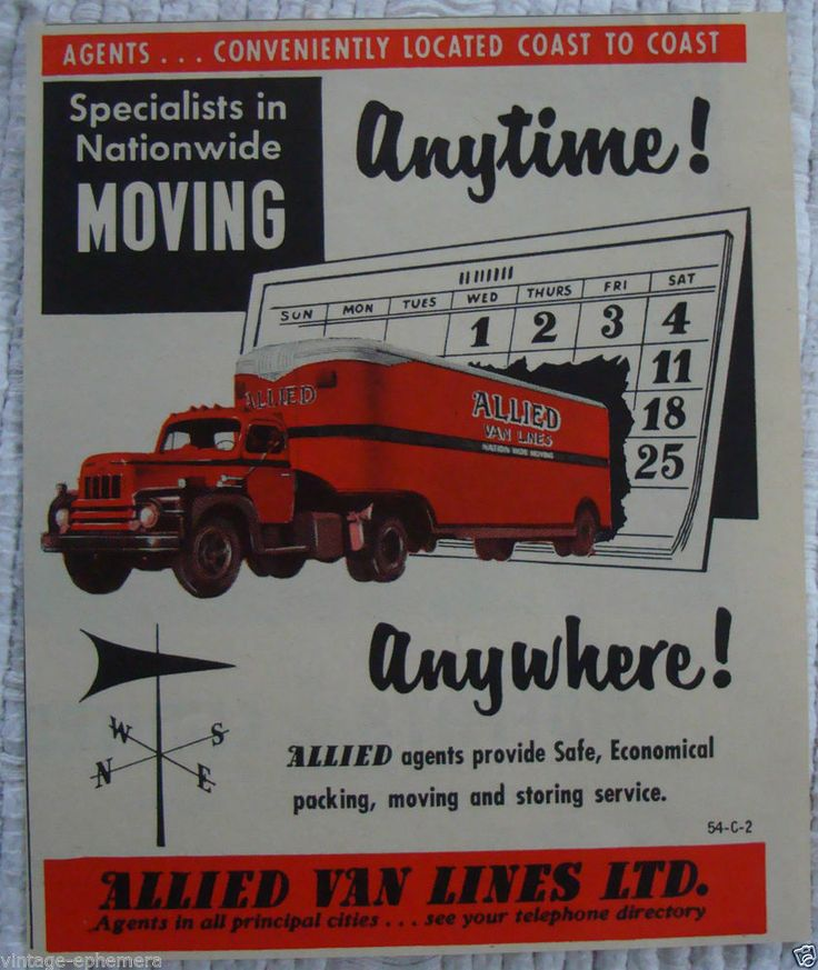 Moving Truck Companies >> 1956 ALLIED VAN LINES MOVING COMPANY CANADA TRUCK TRACTOR ...
