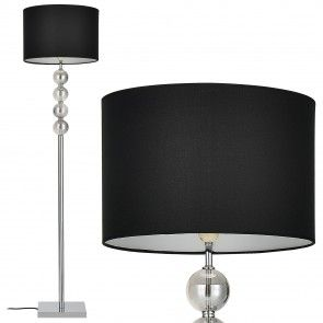 "[lux.pro] Lámpara de pie ""Spheridem"" -- E27 / 60 W / 230 V - negro-cromo (155cm - 37,5 cm) - clase energética A+++ - 46,70 €"