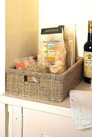 With its neutral natural colour these seagrass oblong baskets will fit in anywhere in your home. Pictured here in a kitchen it would also look brilliant in your bathroom or bedroom, to store all your loose items.