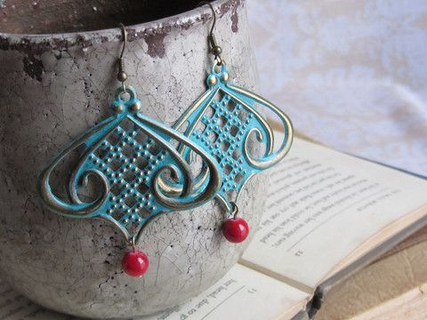 Art Nouveau blue patina earrings – Rosies Darling Jewelry