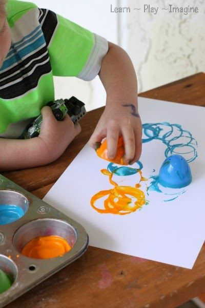 Fine motor art for kids - print making with plastic Easter eggs
