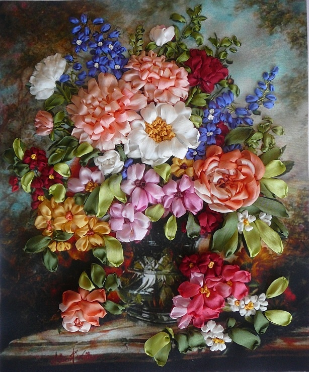 Gallery.ru / Bouquet in Victorian style - Embroidery ribbons, Part 2 - silkfantasy