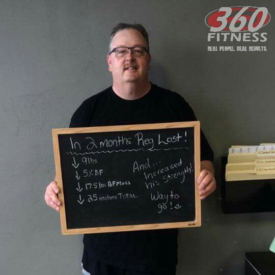 Great results for our client, Reg! In 8 weeks he lost 17.5lbs of body fat and over 25 inches! Boom! #360Fitness