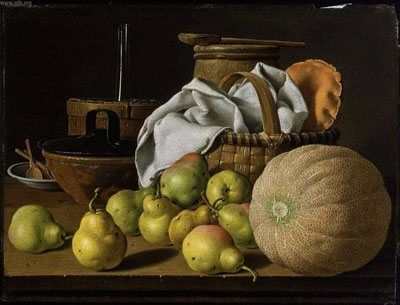 Still Life with Melon and Pears by Luis Melendez, oil on canvas, 18th century.  Melendez died poor and relatively unknown and yet he is now recognized as one, if not the, greatest still life art painter of his day.