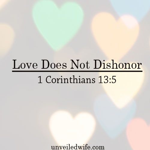"What Is Love Series – Part 6 – Love Does Not Dishonor --- ""4 Love is patient, love is kind. It does not envy, it does not boast, it is not proud. 5 It does not dishonor others, it is not self-seeking, it is not easily angered, it keeps no record of wron… Read More Here http://unveiledwife.com/what-is-love-series-part-6-love-does-not-dishonor/ #marriage #love"