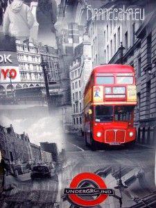 Tkanina zasłonowa LONDON 160cm szaro-czerwona