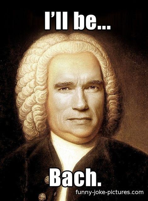 Funny Arnold Schwarzenegger Bach Pun Meme   Funny Joke Pictures
