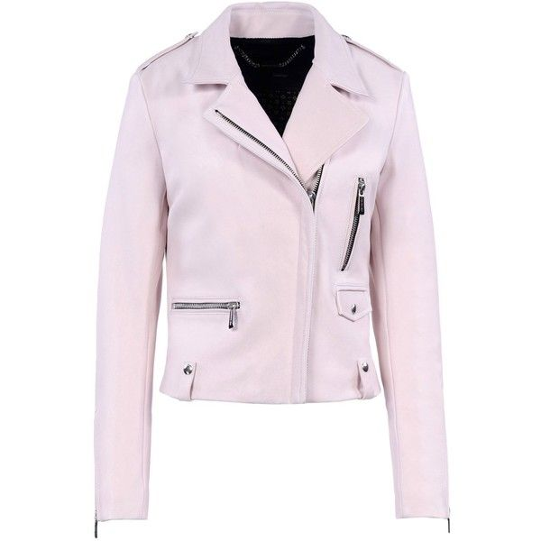 Barbara Bui Leather Jacket ($1,398) ❤ liked on Polyvore featuring outerwear, jackets, light pink, zip jacket, genuine leather jacket, padded jacket, pink zip jacket and leather jacket