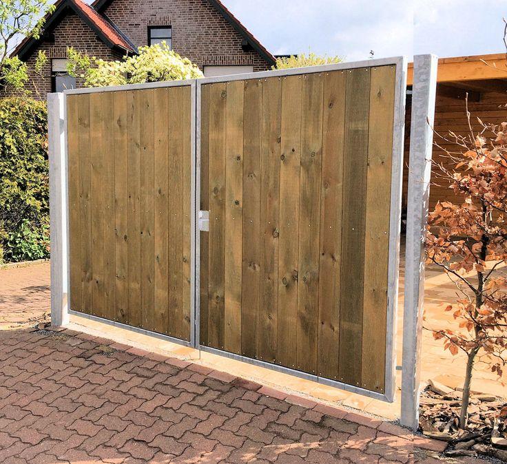 Einfahrtstor 200 x 180cm 2-flügelig Verzinkt + Holz Tor Gartentor Holztor OTTO