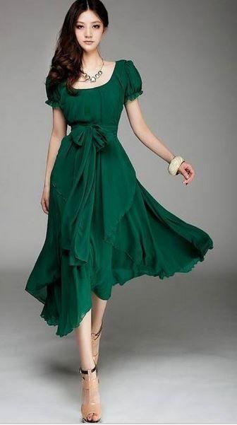 Deep Neck Line Flair Skirt Emerald Green Long