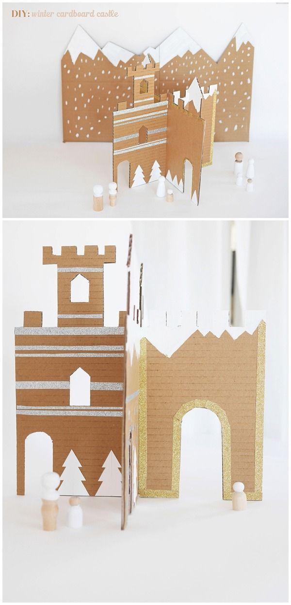 Make an easy cardboard winter castle. A wonderful handmade toy for kids.