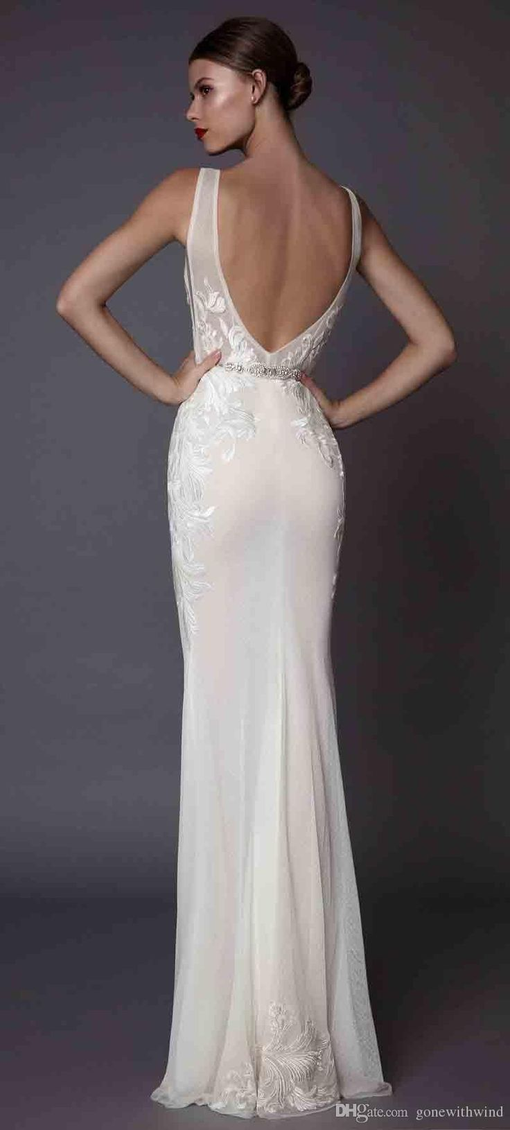 Sexy sheath evening dresses 2017 muse berta bridal deep plunging v neckline embroidered bodice open low back sweep train