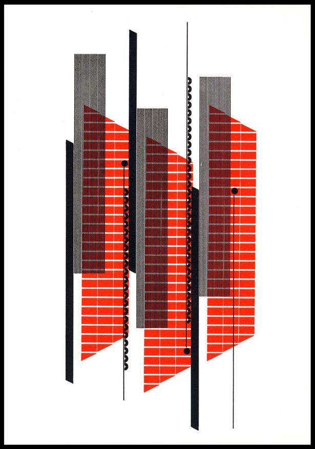 Alvin Lustig- From Ghost in the underblows Geometric Shape abstract design poster conceptual graphic design