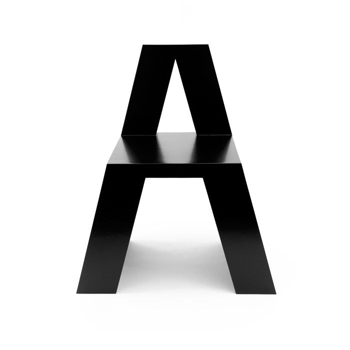 'A' chair by Roeland Otten. ABChairs is a series of 26 typographic chairs. It's an alphabet to sit on and a series of chairs to form words with.