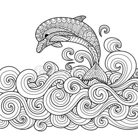 Delfín de zentangle dibujado mano con desplazamiento de la onda del mar para colorear libro para adulto — Vector de stock