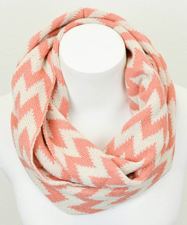 Peach & White Zigzag Infinity Scarf | Daily deals for moms, babies and kids