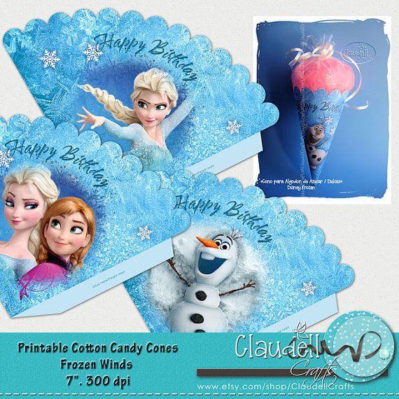 Frozen Printable Cotton Candy Cones / Popcorn / Favor Box Party