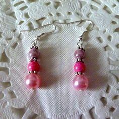 Bijoux fantaisie : boucles d'oreille perles roses pâle et rose foncé@laboutiquedenath