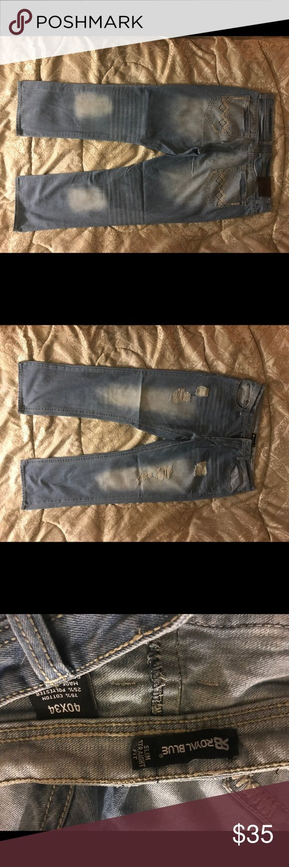 Like new Royal Blue, light blue denim jeans. Royal Blue slim straight fit light colored blue jeans. Size 40x34 Royal Blue Jeans Straight