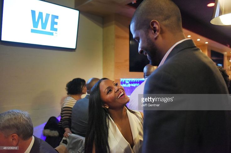 Ellen Rucker Carter and Bakari Sellers of Love Thy Sister share a moment at the WE tv premiere party at Bar One on January 8, 2015 in…