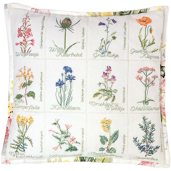 THEA GOUVERNEUR-Wild Flower Cushion On Jobelan Counted Cross Stitch Kit: Twenty-Seven Count. Inspired by nature; these kits are detailed using a variety of colors with results that are realistic and t