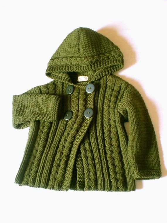 Toddler Sweater Jacket, Merino Wool Cable Knit Jacket with Hood, Many Colors Available
