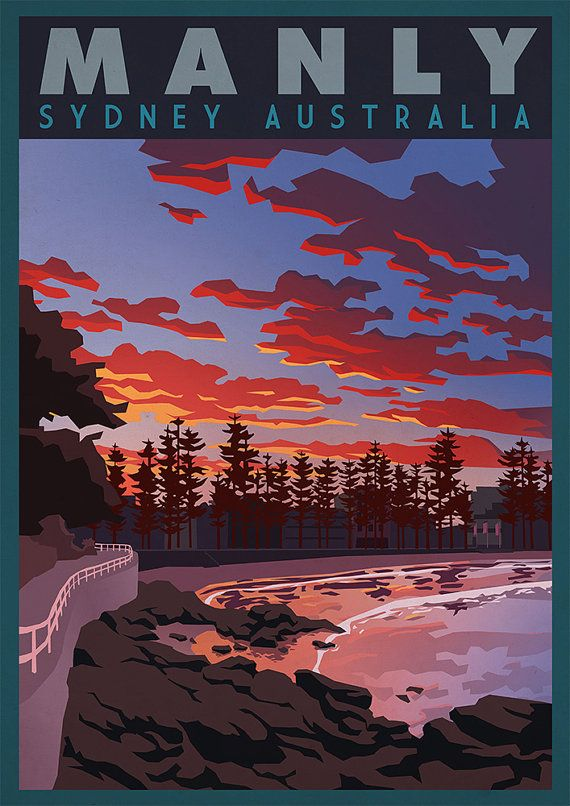 Vintage Retro Travel and Railways Reproduction Print Poster Nr 5. Manly - Sydney Australia