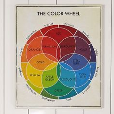 Vintage Colour Wheel - Crimson with chartreuse and teal // (peacock and saffron).  Blue-blue-green with yellow-yellow-green and red.
