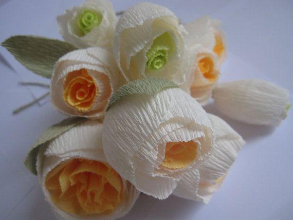 9 pcs Paper Flowers ORANGE _ IVORY _ GREEN Wedding by moniaflowers