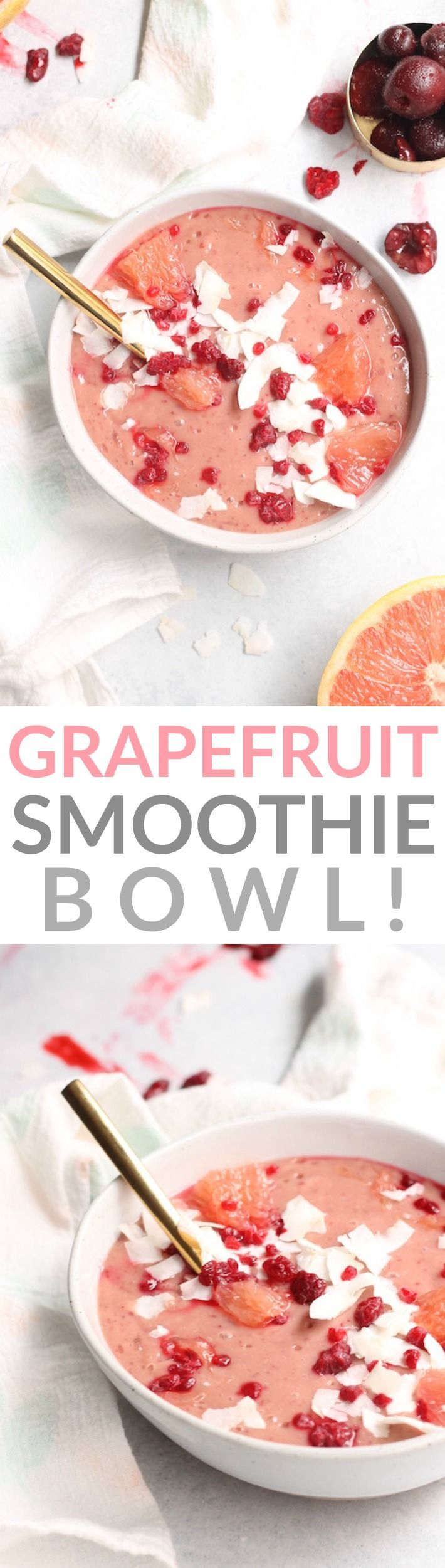 This sweet, refreshing, and creamy Grapefruit Smoothie Bowl makes for the perfect healthy breakfast or cooling treat.