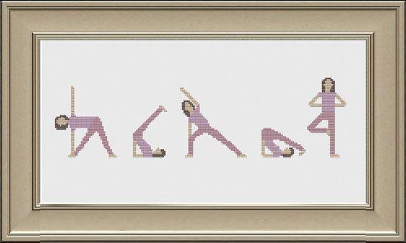 Yoga Cross Stitch Pattern PDF DMC Threads by KnitSewMake on Etsy, £2.00