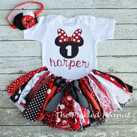 Minnie Mouse 1st Birthday Girl Outfit 1st by ThePickledPeanut