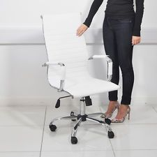 ADJUSTABLE WHITE HIGH BACK LUXURY EXECUTIVE OFFICE CHAIR COMPUTER DESK FURNITURE