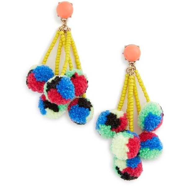 Women's Baublebar Caicos Pompom Drop Earrings ($34) ❤ liked on Polyvore featuring jewelry, earrings, multi, baublebar jewelry, drop earrings, seed bead jewelry, pom pom jewelry and poms jewellery