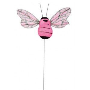 Abeille fuchsia sur tige les 6, wedding pink, party, mariage pink, rose, fuchsia, baby shower, baptême, déco pink
