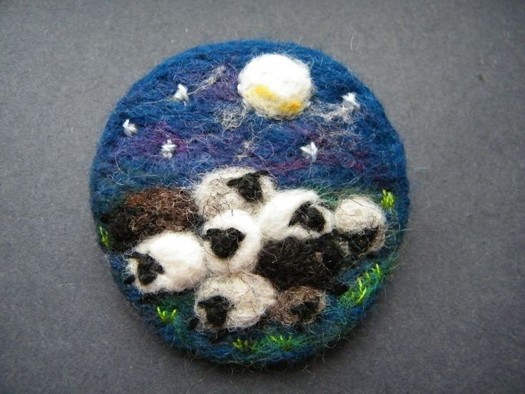 Unique Hand Made Needle Felted Brooch - 'Sleepy Sheep' by Tracey Dunn