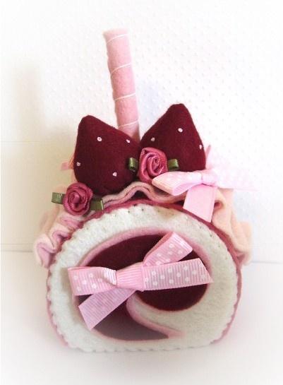 beautiful hand sewn pink and vanilla felt food cake by nicolaluke, $8.00