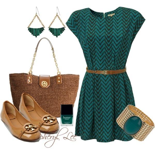 Chevron print dress - sophisticated casual: Style, Color, Cute Dresses, Outfit, Chevron Print Dresses, Sheryl Lee, Polyvore, Chevron Dress