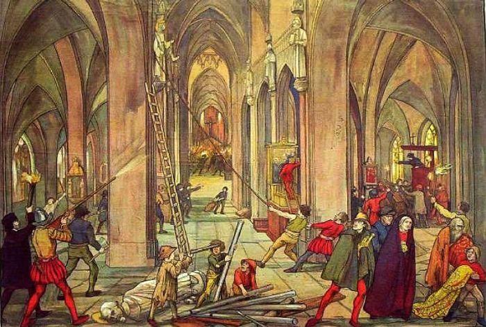 Het iconoclasme van de zestiende eeuw is beter bekend als de beeldenstorm. Het wordt op gang gebracht door de strijd tussen protestantisme en katholicisme (onder meer in verband met sacramenten). In deze periode gaan grote menigten protestanten de inventaris van honderden katholieke kerken, kapellen, abdijen en kloosters vernielen. Altaren, beelden, doopvonten, reliekhouders, koorgestoelten, kansels, orgels, kelken, schilderijen, missalen en gewaden moeten het ontgelden.