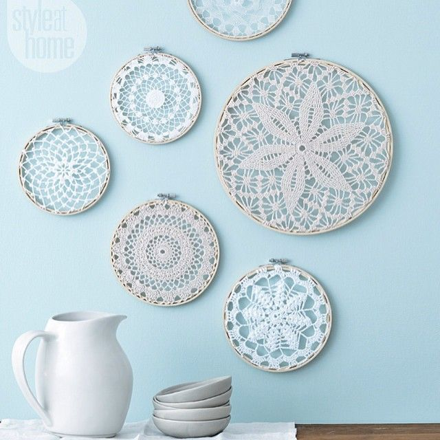"""""""#DIYproject: Our managing editor and resident crafter @cat_therrien modernizes your grandmother's #doilies by placing them in embroidery hoops to display…"""""""