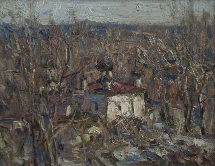 "Malanenkov Yuriy ""Spring in the town of Gorokhovets"" Canvas on carton, oil 27,5х35 cm 2007."