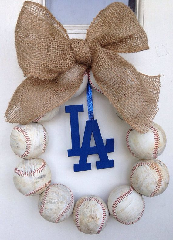 Los Angeles Dodgers Burlap Baseball Wreath by NTgoodthings on Etsy, $46.00