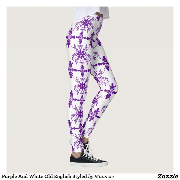 Purple And White Old English Styled Leggings #oldenglish #purplewhiteleggings #leggings #fashion #womensleggings