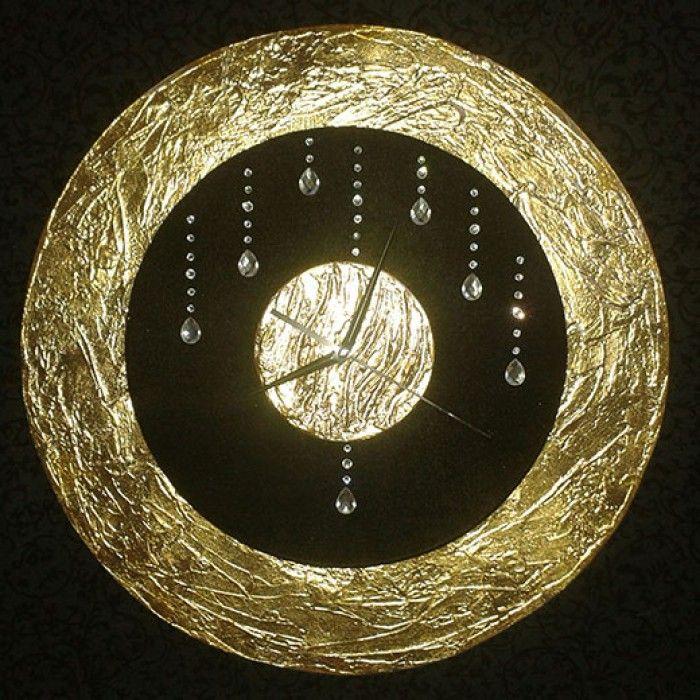Διακοσμητικό χειροποίητο ρολόι τοίχου με ύφασμα βελούδο μαύρο, φύλλο χρυσού, κρύσταλλα ASFOYR, μεταλλικούs δείκτεs και αθόρυβο μηχανισμό. Διάμετρος 45cm ή 60cm.