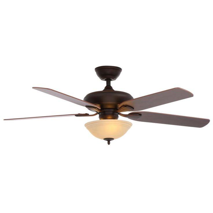 Hampton Bay Flowe 52 in. LED Mediterranean Bronze Ceiling Fan