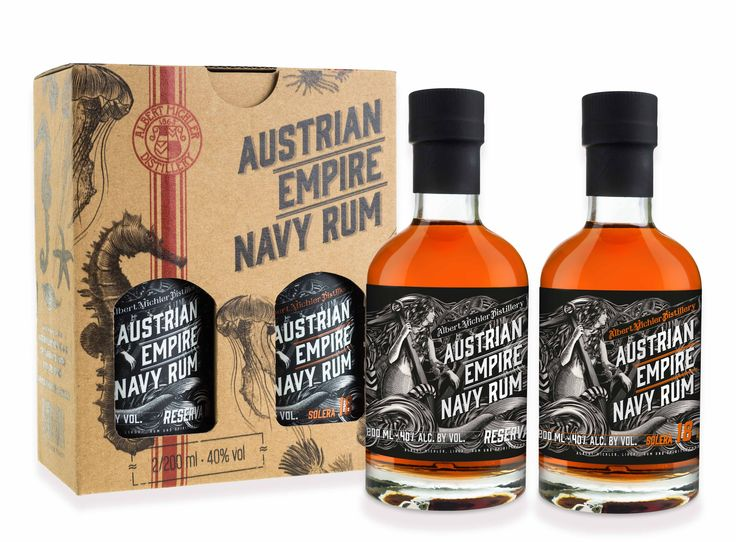 Austrian Empire Navy Rum  Gift Packaging 2 x 200 ml.  Reserva & Solera 18