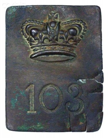 103rd Regiment of Foot- In the Canadas from July 1812 to 1817. Formed in December 1806 as the 9th Garrison Battalion, re-designated 103rd Foot in December 1808. Disbanded at Chelmsford, UK, on 24 October 1817 and the last four companies on 24 January 1818 (Chartrand- A Scarlet Coat)