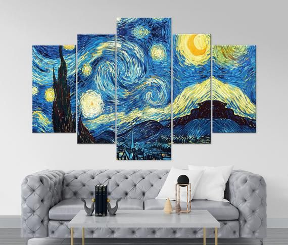 Starry Night Van Gogh Wall Art Star Art Prints Starry Night Etsy Van Gogh Wall Art Canvas Art Wall Decor Starry Night Van Gogh