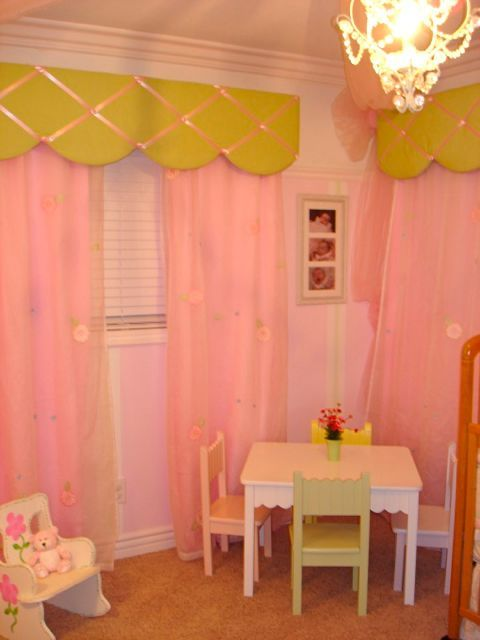 Pink amp green nursery table and curtains for the home pinterest
