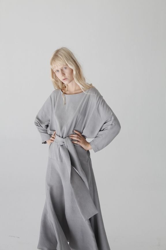 White hair with grey structured maxi dress. In love with everything oversized.